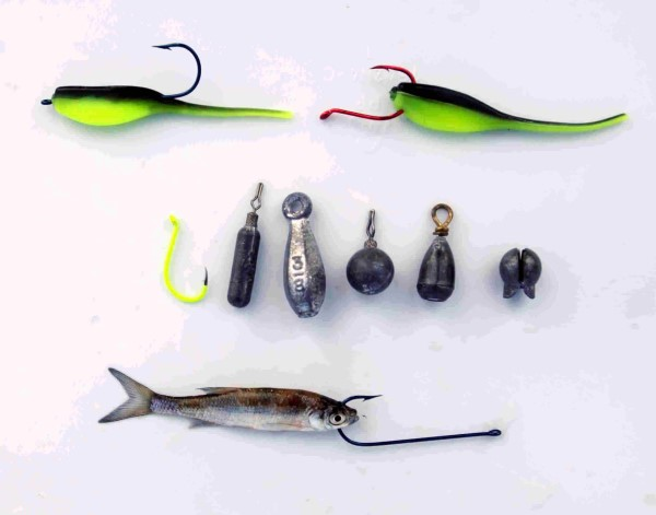 Barry Morrow uses a variety of hooks and weights for drop shot techniques using soft plastics or minnows.