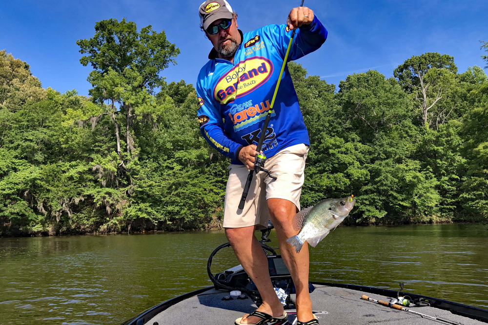 Lee Pitts swings a bragging-sized crappie