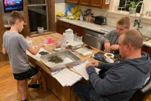 Right now most of the work making Guppy Gobblers happens on the Martin's kitchen table.